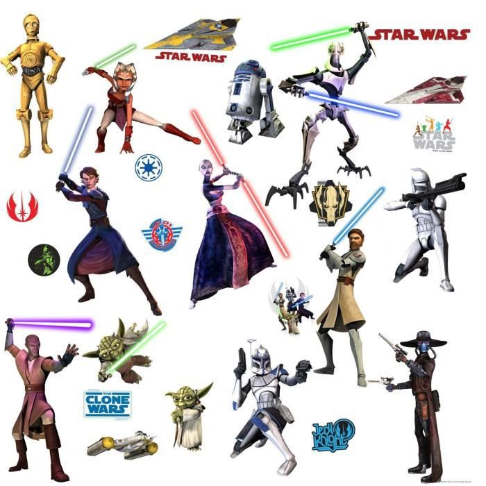 stickers muraux star wars a 4 planches achat vente. Black Bedroom Furniture Sets. Home Design Ideas