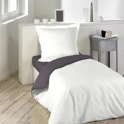 parure de couette 140x200 57fils bicolore blanche gris souris achat vente parure de couette. Black Bedroom Furniture Sets. Home Design Ideas