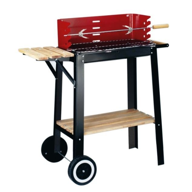barbecue bois red line chariot avec tourne broche achat. Black Bedroom Furniture Sets. Home Design Ideas