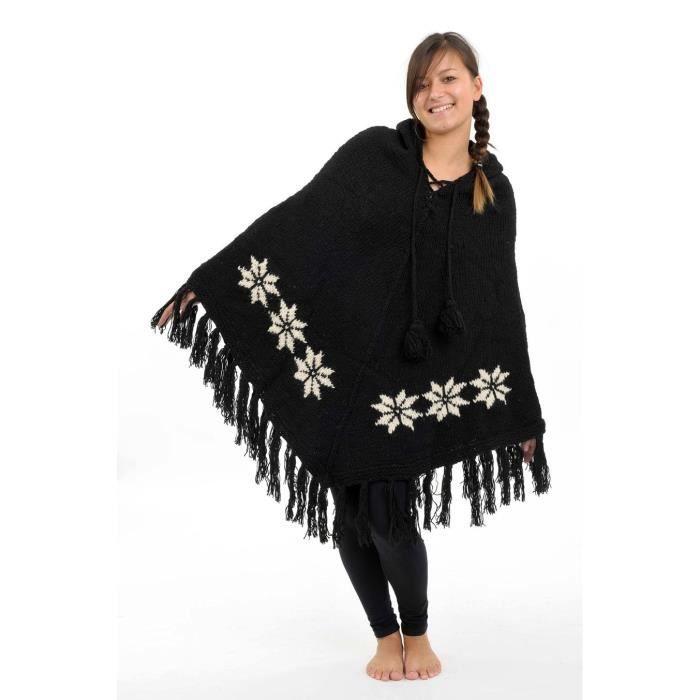 poncho laine douce nepal noir et noir achat vente veste cdiscount. Black Bedroom Furniture Sets. Home Design Ideas