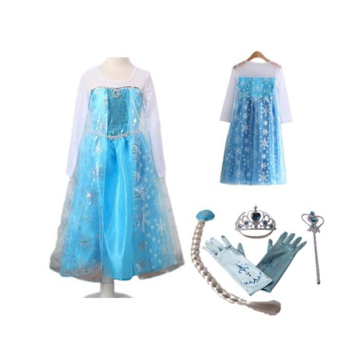 tenue reine des neiges 4 accessoires 2 a 14 ans bleu. Black Bedroom Furniture Sets. Home Design Ideas