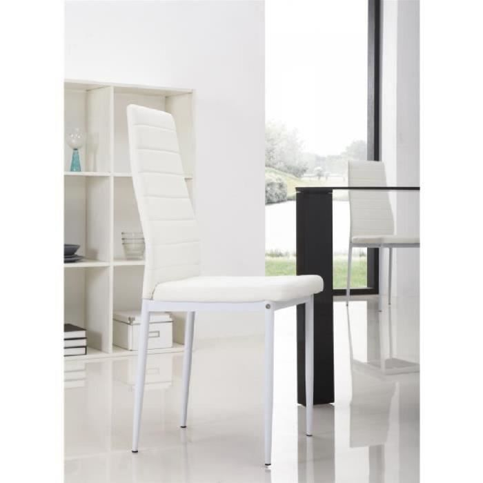 Lot de 4 chaises design blanches achat vente chaise for Soldes chaises blanches