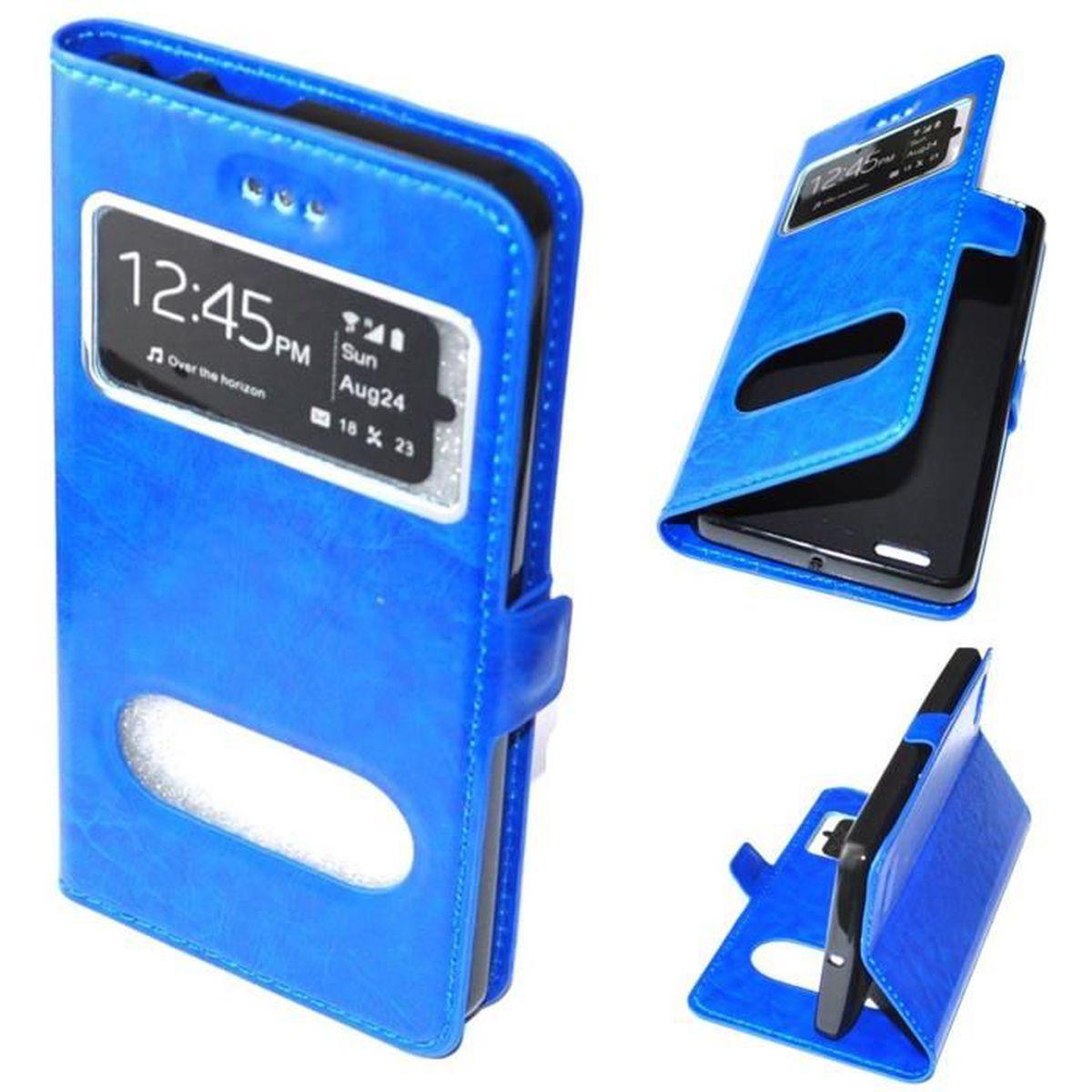 Etui housse coque portefeuille folio cuir pu bleu pour for Housse asus zenfone 3 max