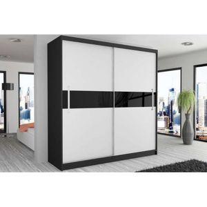 armoire noir et blanc laque achat vente armoire noir. Black Bedroom Furniture Sets. Home Design Ideas