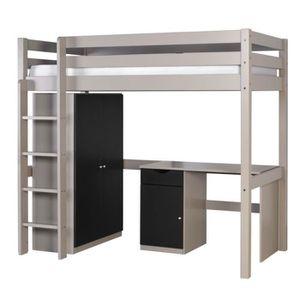 lit mezzanine avec penderie achat vente lit mezzanine. Black Bedroom Furniture Sets. Home Design Ideas