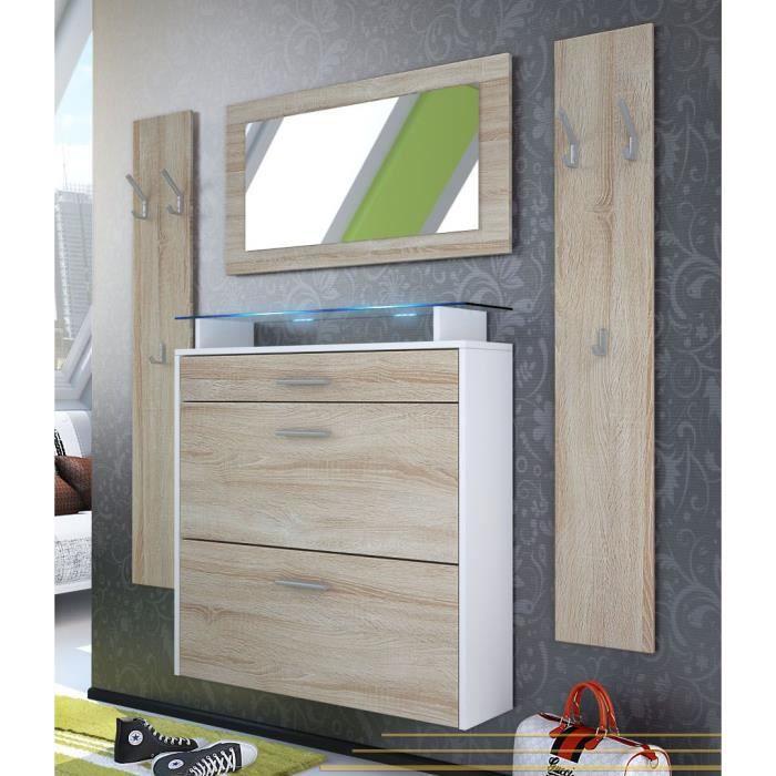 vestiaire blanc et bois brut 89 cm achat vente meuble d 39 entr e vestiaire d 39 entr e cdiscount. Black Bedroom Furniture Sets. Home Design Ideas