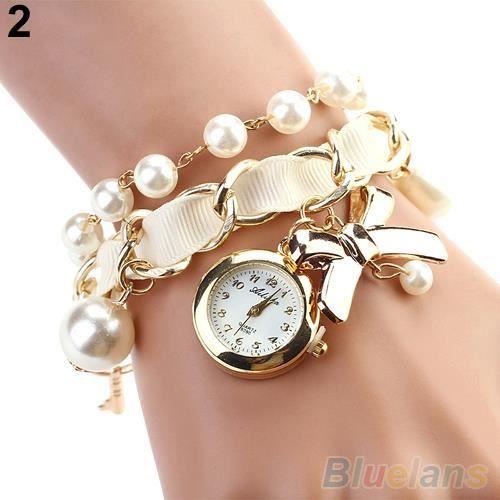 Femme perle montre d coration de n ud deux boucles bracelet en cuir quartz analogique achat for Montre decoration