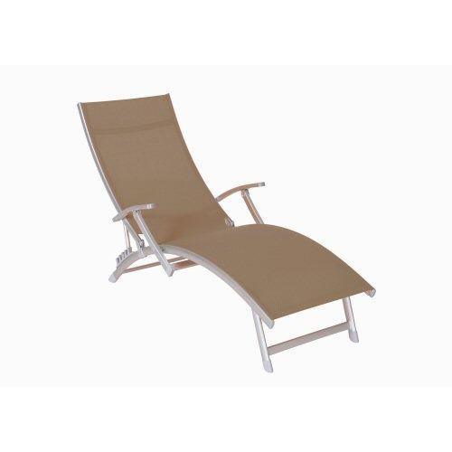 Pro jardin transat 4 positions accoudoirs taupe achat - Chaise longue soldes ...