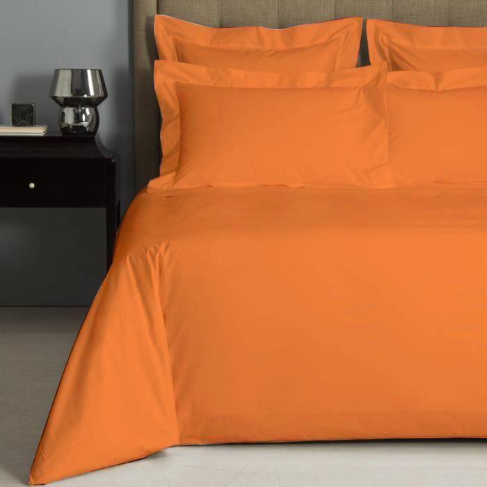 housse de couette uni orange percale de coton salom. Black Bedroom Furniture Sets. Home Design Ideas