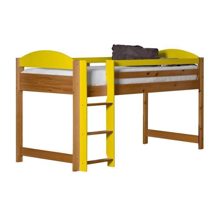 lit mi haut maximus 90x190 naturel lime achat vente. Black Bedroom Furniture Sets. Home Design Ideas