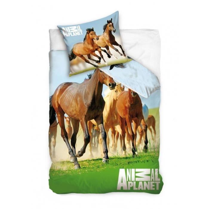 animal planet cheval linge lit housse de couette achat vente housse de couette soldes d. Black Bedroom Furniture Sets. Home Design Ideas