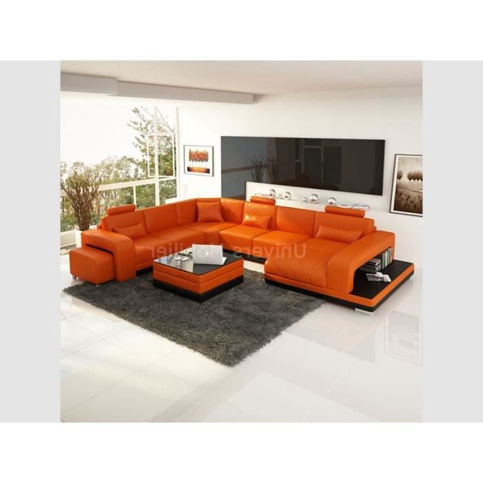 Canap d 39 angle table assortie varese cuir achat vente canap sofa - Canape sortie d usine ...