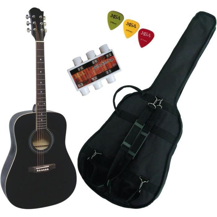 guitare folk noir pas cher achat vente cdiscount. Black Bedroom Furniture Sets. Home Design Ideas