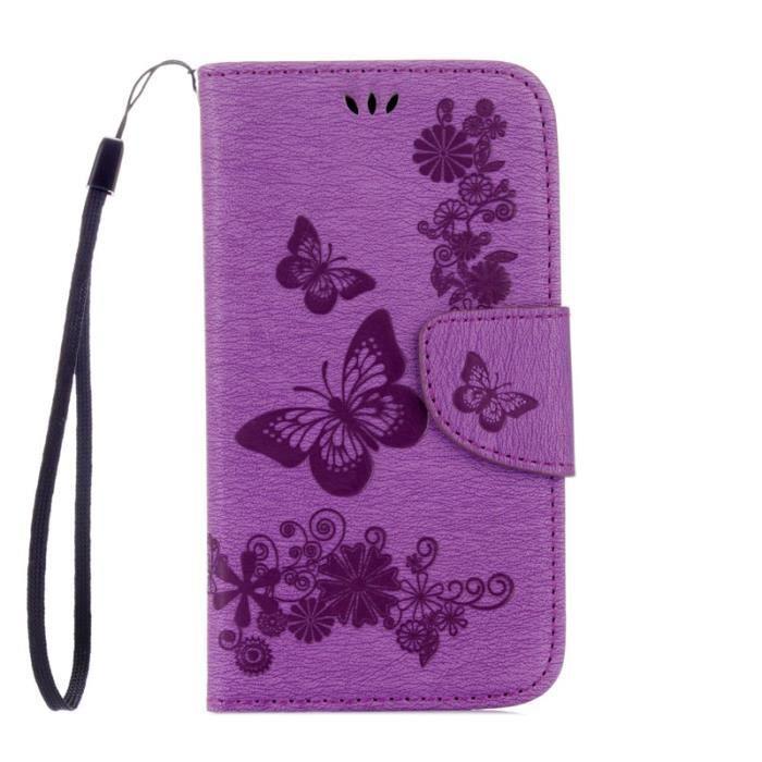 etui pour samsung galaxy s4 mini i9190 violet gros papillons pu cuir de protection avec rabat. Black Bedroom Furniture Sets. Home Design Ideas