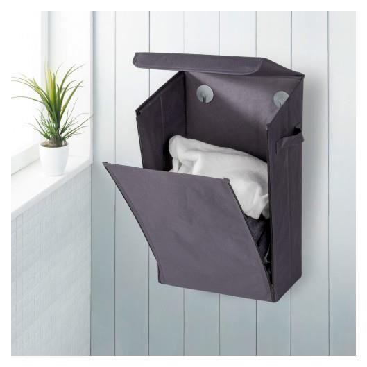 panier linge mural gris wenko achat vente panier a. Black Bedroom Furniture Sets. Home Design Ideas