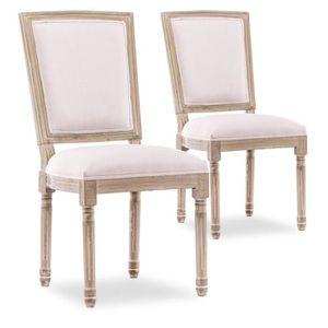 Chaise bois et tissu beige achat vente chaise bois et - Chaise beige pas cher ...