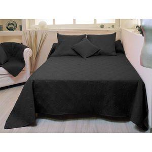 couvre lit matelass r versible suzanne noir achat vente jet e de lit boutis cdiscount. Black Bedroom Furniture Sets. Home Design Ideas