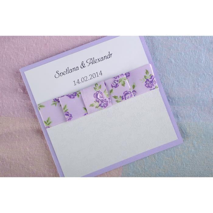 Carte d 39 invitation au mariage blanche et lilas faite main achat vente faire part - Carte tntsat gratuite ...