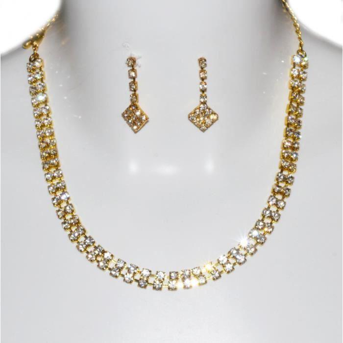 Parure bijoux collier dor pour un mariage ou une soir e - Boite a bijoux pour collier ...