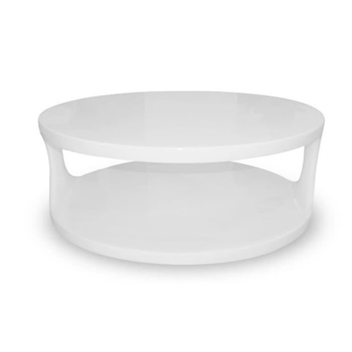 Table basse de salon blanche oxygene achat vente for Table basse maison de famille