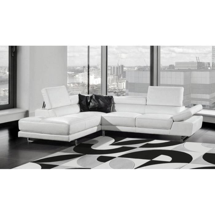 canap d 39 angle en cuir blanc bianca achat vente canap sofa divan cuir polyur thane. Black Bedroom Furniture Sets. Home Design Ideas