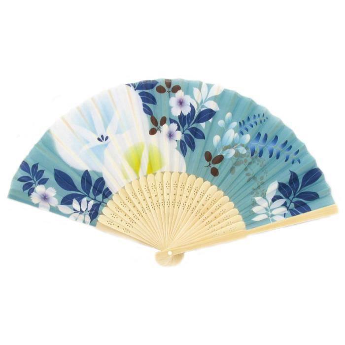petit ventail chinois bleu en bambou achat vente objet d coratif bambou tissu cdiscount. Black Bedroom Furniture Sets. Home Design Ideas