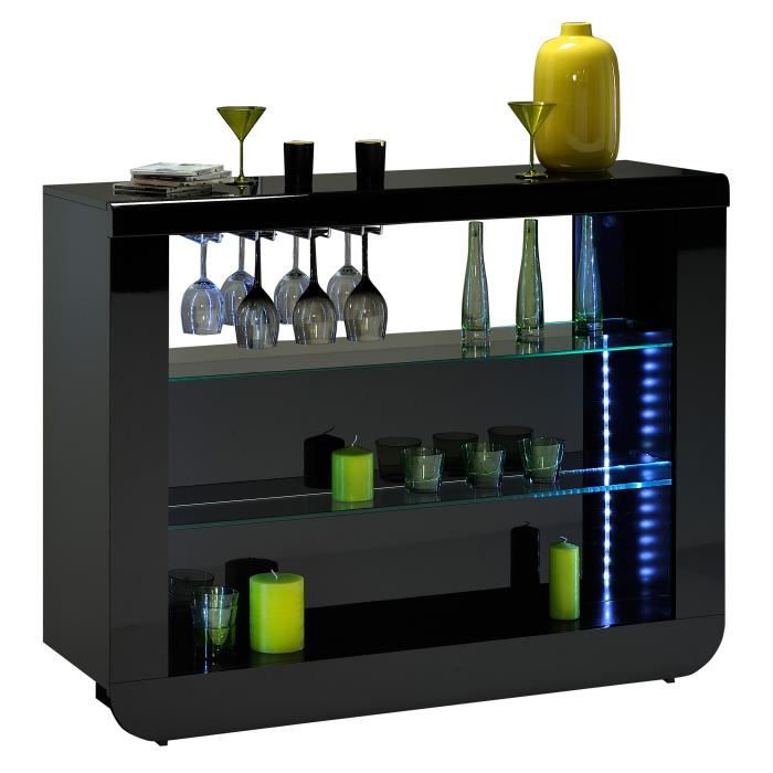 Meuble bar noir laqu design led achat vente meuble for Meuble cuisine noir laque