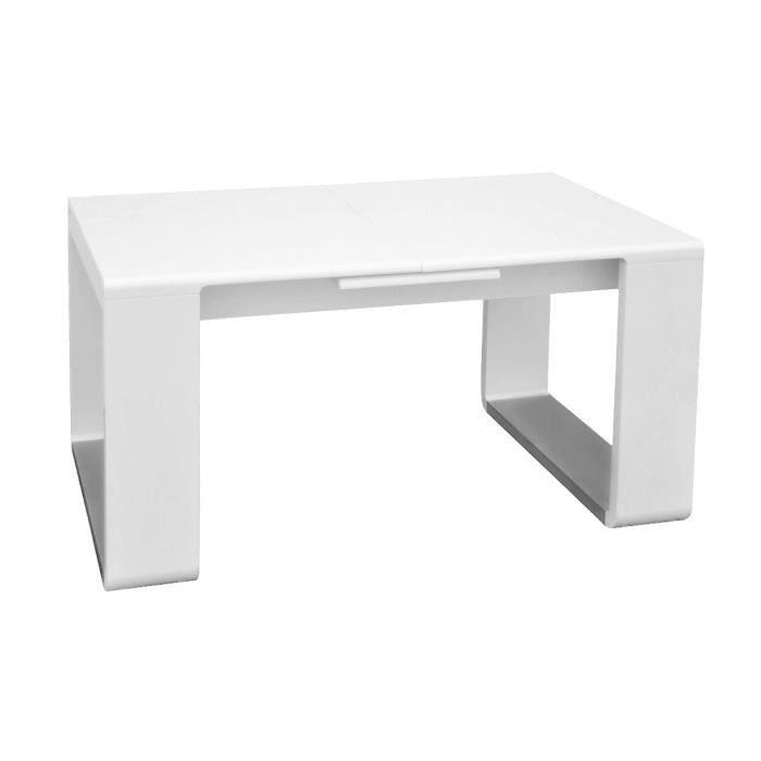 Table extensible laqu e blanc katie achat vente table - Table laquee extensible ...
