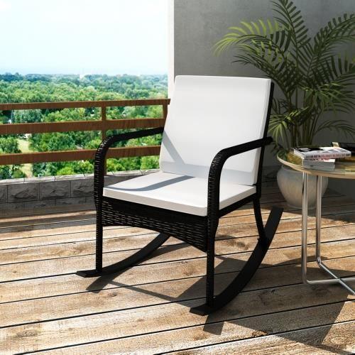fauteuil bascule en rotin noir meuble jardin achat vente coussin d 39 ext rieur fauteuil. Black Bedroom Furniture Sets. Home Design Ideas