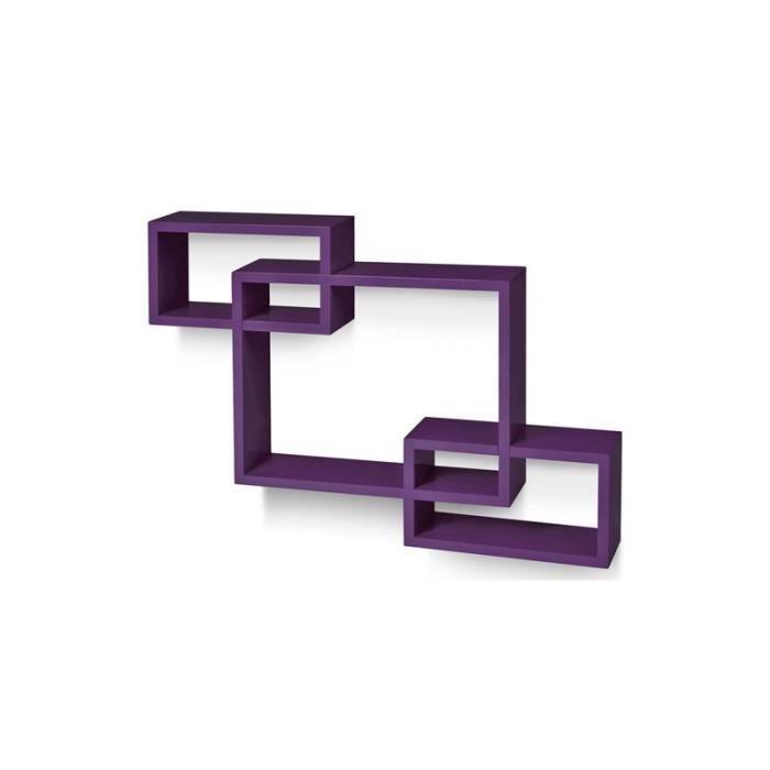 tag re murale x3 cube design pour livres d coration violet 2701007 achat vente meuble. Black Bedroom Furniture Sets. Home Design Ideas
