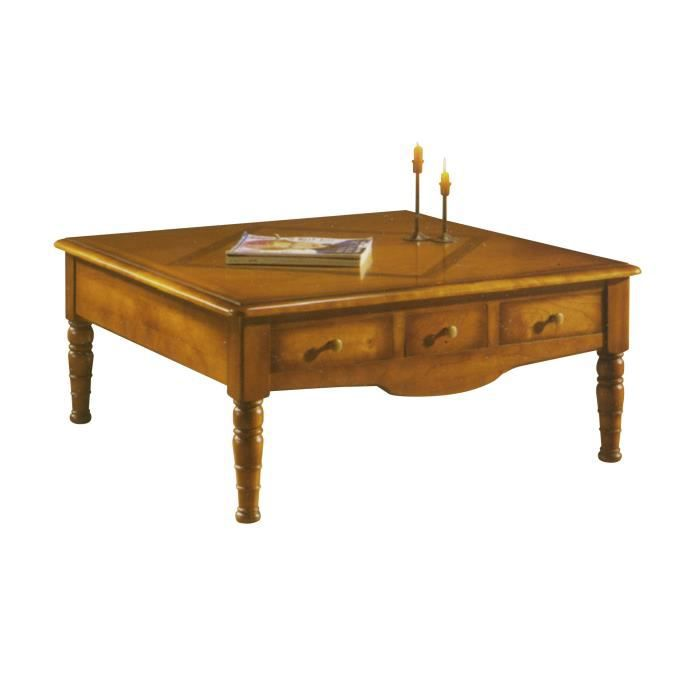 Table basse carr e 3 tiroirs en ch ne massif achat vente table basse tabl - Table basse carree chene massif ...