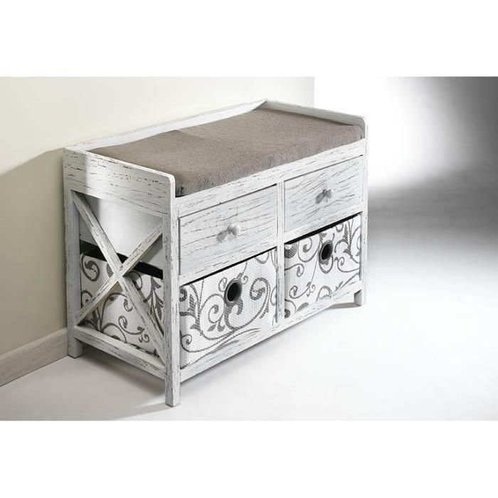 banc coffre banc de vestiaire avec 2 tiroirs et 2 paniers 34x69x48 cm bois blanc achat. Black Bedroom Furniture Sets. Home Design Ideas