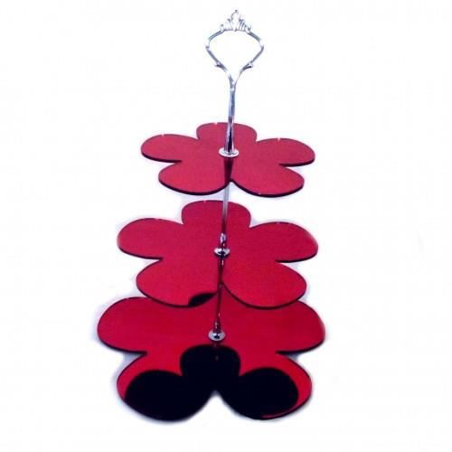 3 niveaux stand g teau en marguerite rouge miroir for Miroir acrylique incassable