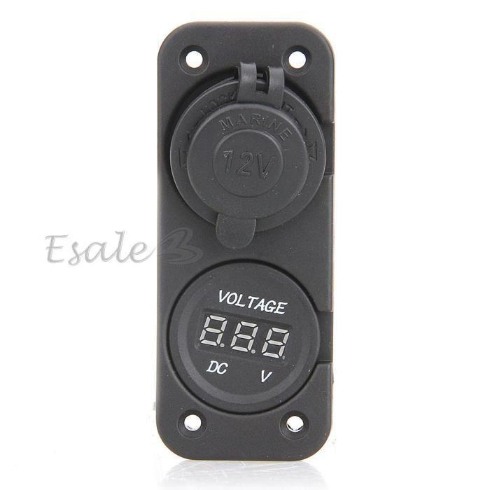 CARCHET Adaptateur Allume cigare Double Prise USB avec Voltmètre pour