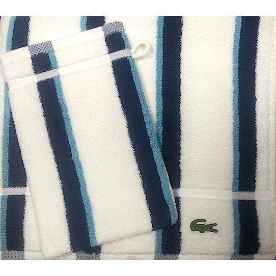 1 serviette toilette 1 gant lacoste eg e bleu achat vente parure de bain soldes d t. Black Bedroom Furniture Sets. Home Design Ideas