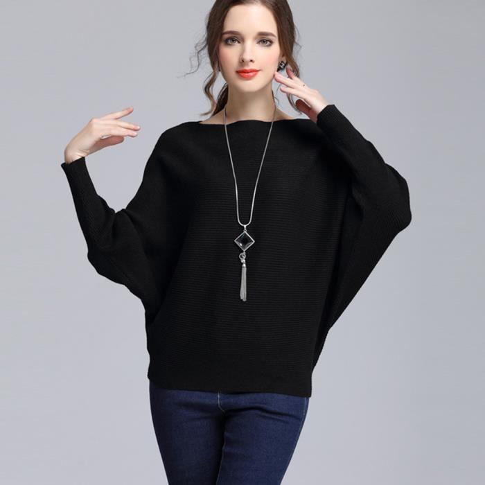 pull femme hiver l che en tricot pas cher noir noir noir achat vente pull cdiscount. Black Bedroom Furniture Sets. Home Design Ideas