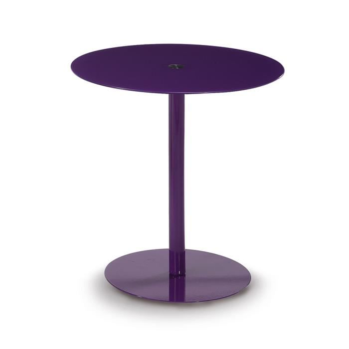 Table gu ridon ronde coloris violet h55 x l50 achat for Table ronde d appoint