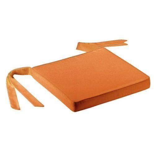 Galette de chaise ruban 40 x 40 cm orange achat - Galette de chaise exterieur ...