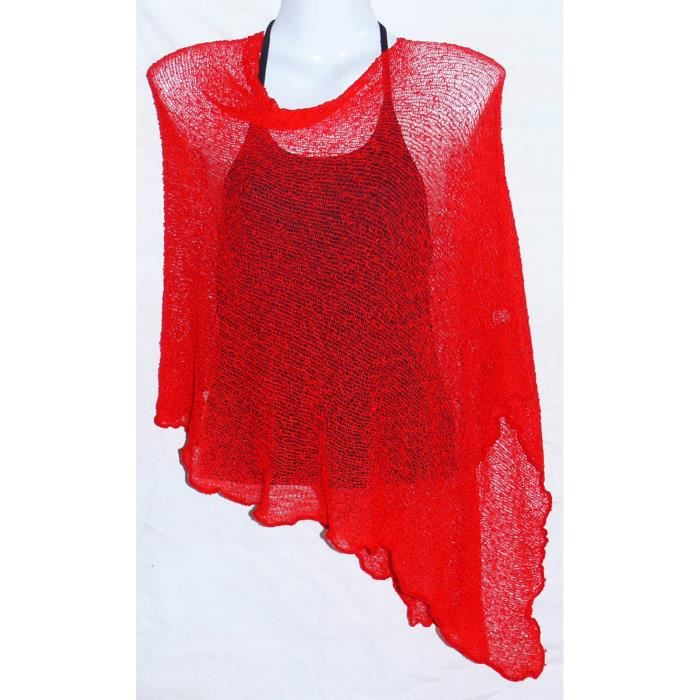 poncho rouge gilet pull femme taille u rouge achat. Black Bedroom Furniture Sets. Home Design Ideas