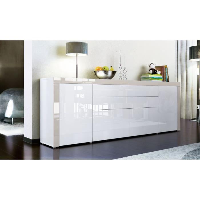 buffet enfilade blanc au contour sable 200 cm achat vente buffet bahut buffet enfilade. Black Bedroom Furniture Sets. Home Design Ideas