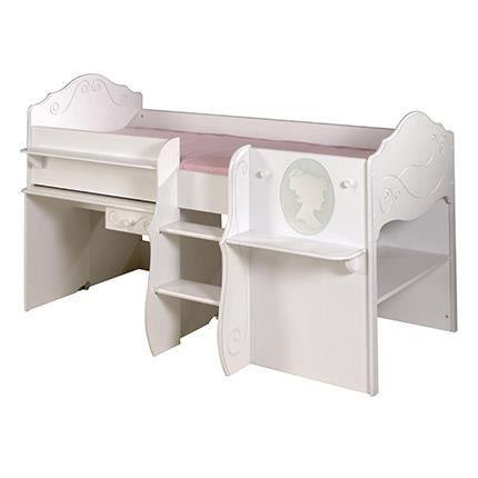 Lit combin avec bureau laqu blanc achat vente lit combine lit combin - Lit a etage avec bureau ...