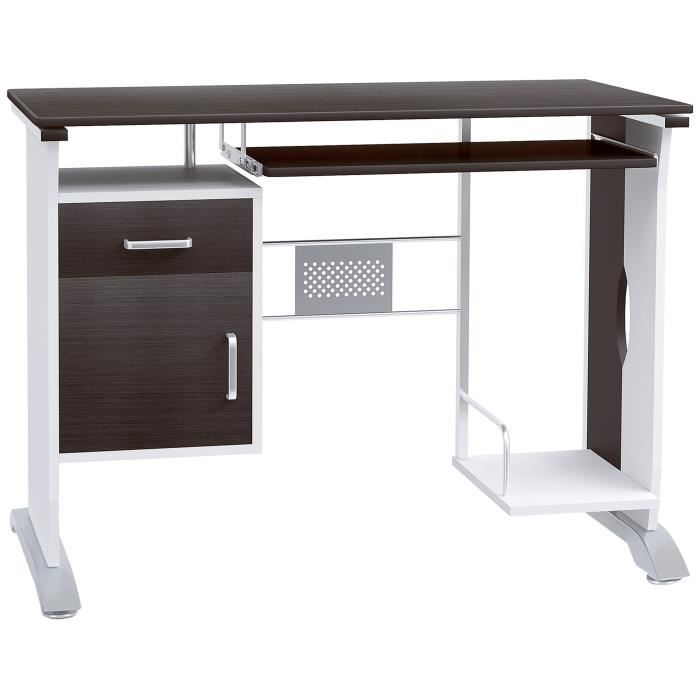 Bureau informatique table ordinateur mdf 100 l x 52 i x for Meuble bureau 100 cm