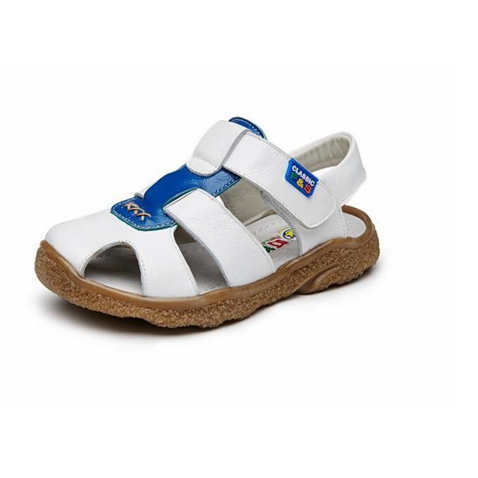 enfant garcon chaussures sandale cuir blanc blanc tu achat vente sandale nu pieds cdiscount. Black Bedroom Furniture Sets. Home Design Ideas