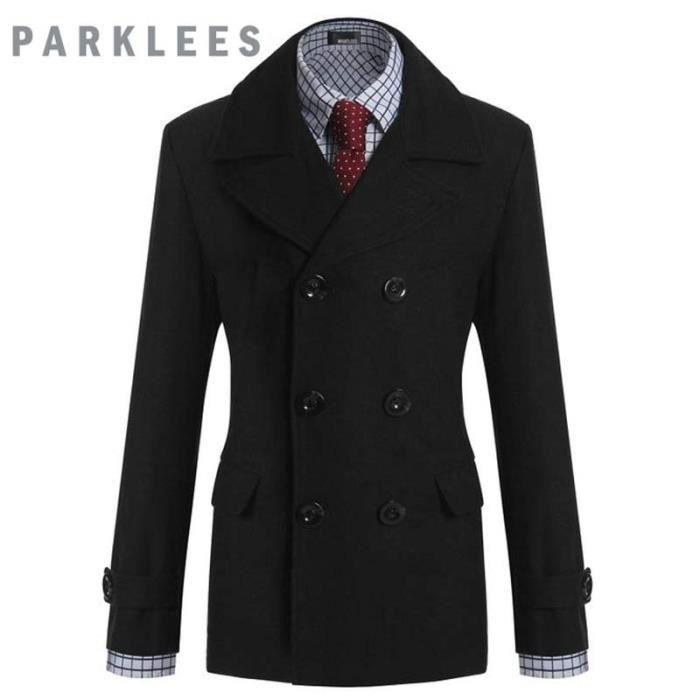 manteau homme marque mode double boutonnage en noir achat vente manteau caban cdiscount. Black Bedroom Furniture Sets. Home Design Ideas