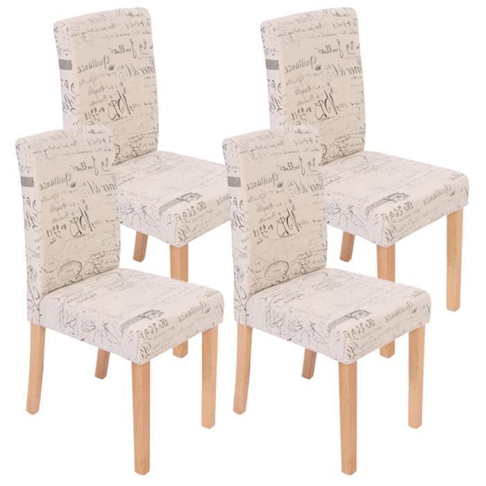 Lot de 4 chaises de salle manger fauteuil li achat vente chaise beige cdiscount - Chaises fauteuil salle a manger ...