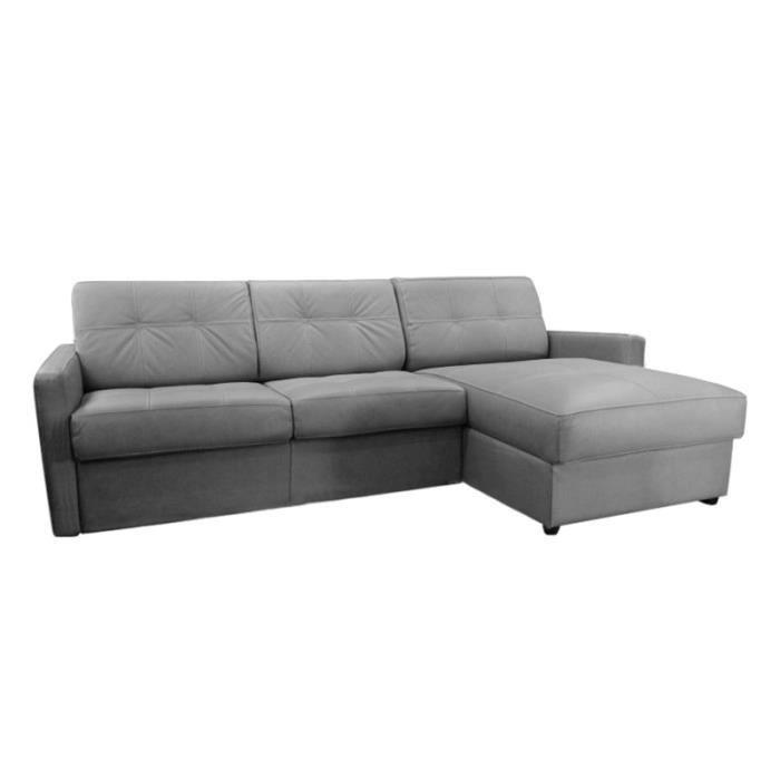 canap lit d 39 angle tetris vrai cuir gris clair 120 achat vente canap sofa divan cuir. Black Bedroom Furniture Sets. Home Design Ideas