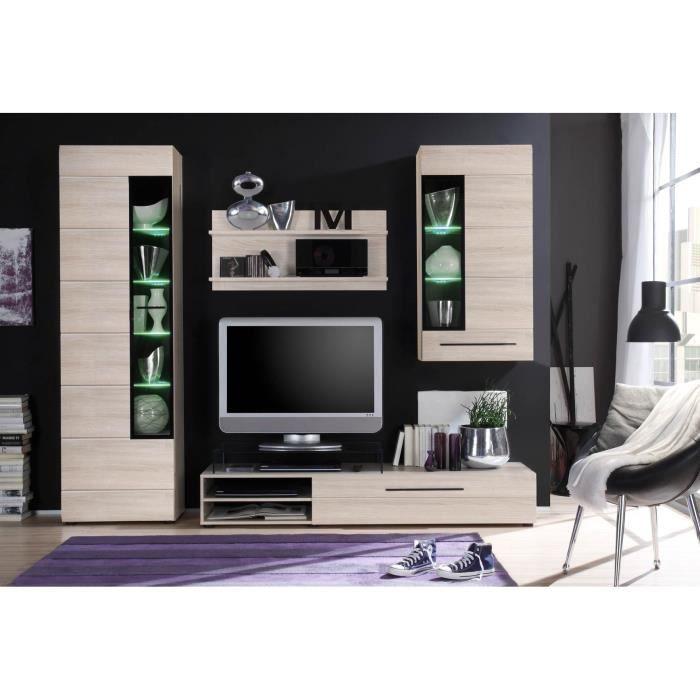 Skin meuble tv mural 250cm avec clairage led d cor for Meuble tv mural 240 cm blanc gris adhara