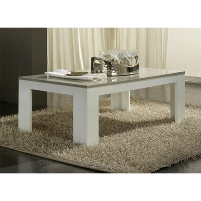 Table basse pisa laqu e blanc gris achat vente table for Table basse blanc gris