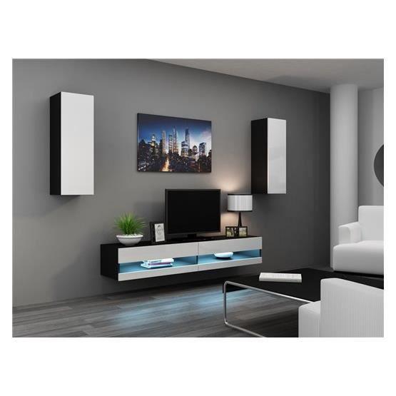 Ensemble meuble tv design valor noir et blanc achat for Ensemble meuble tv design