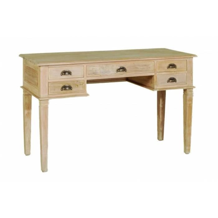 Bureau api 5 tiroirs en teck blanchi style colonial for Meuble colonial occasion